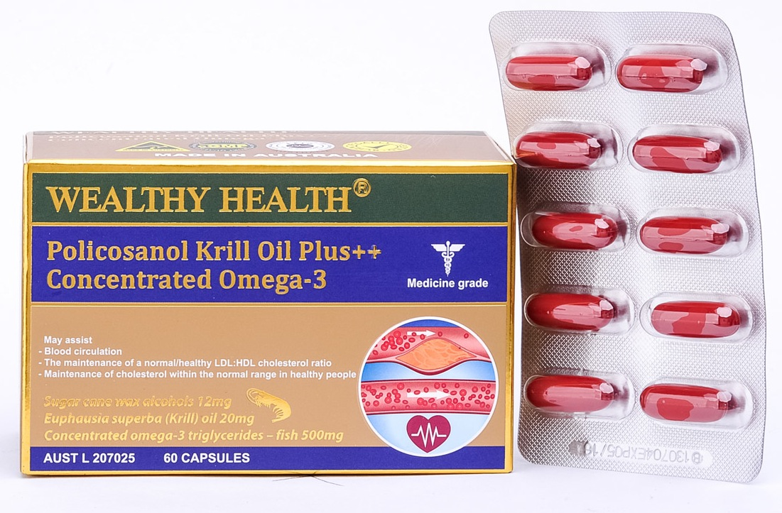 Wealthy Health Policosanol Krill Oil Plus + Concentrated Omega-3